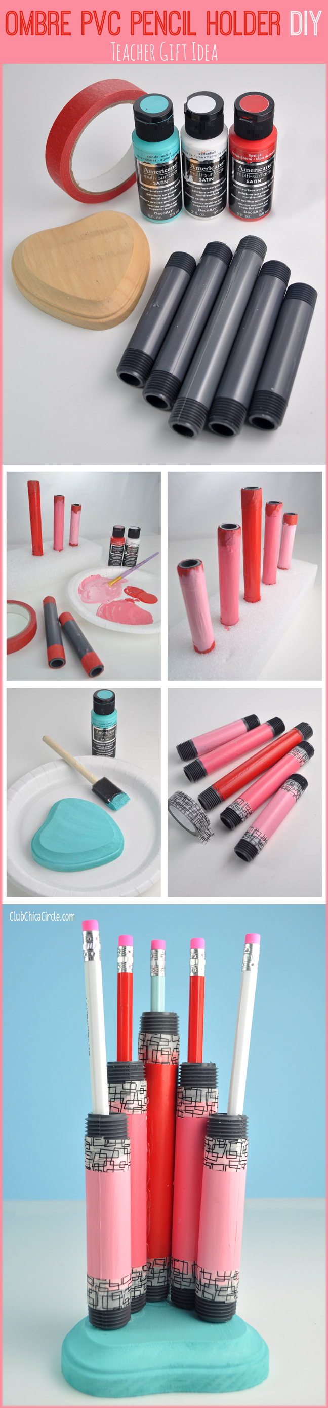 Ombre PVC Pencil Holder DIY craft idea and teacher gift