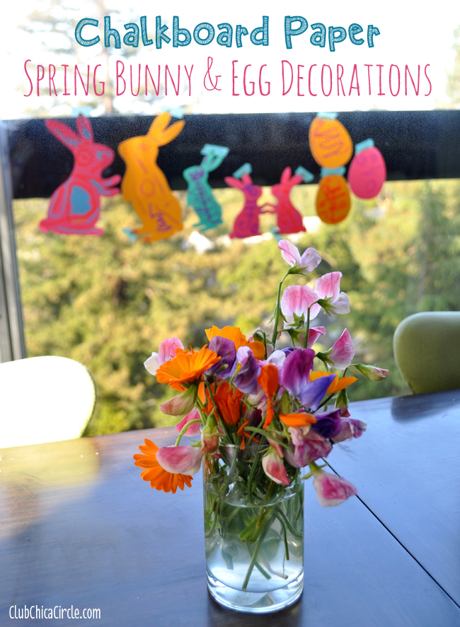 Spring Window Decorations easy craft idea for kids