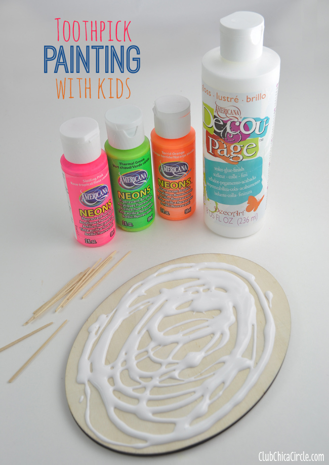 Toothpick painting with kids decoupage and paint supplies