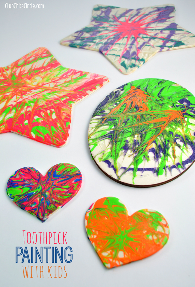 Toothpick painting with kids