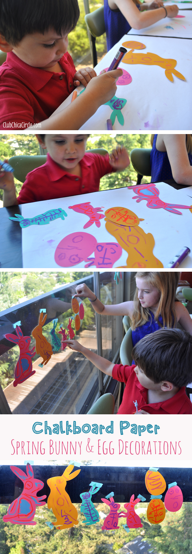 decorating chalkboard paper bunnies and eggs for easter