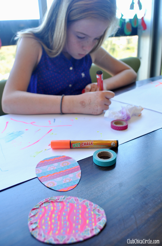 tween Easter craft activity with washi tape and chalk