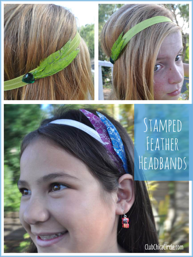 tween headband easy craft idea with stamped and painted feathers