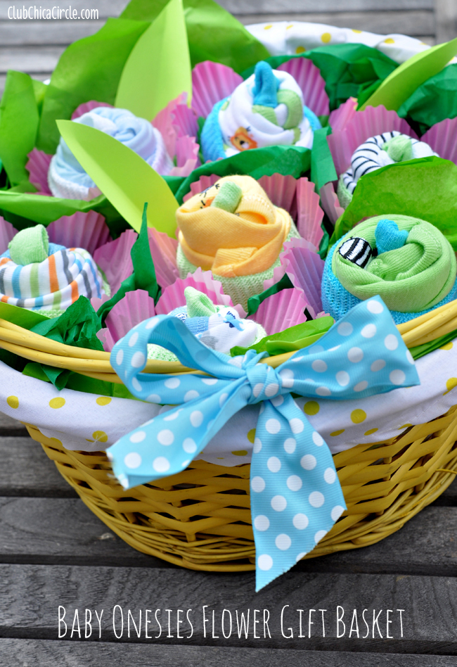 How to make a baby onesie flower gift basket baby onesie flowers baby shower gift idea negle Image collections