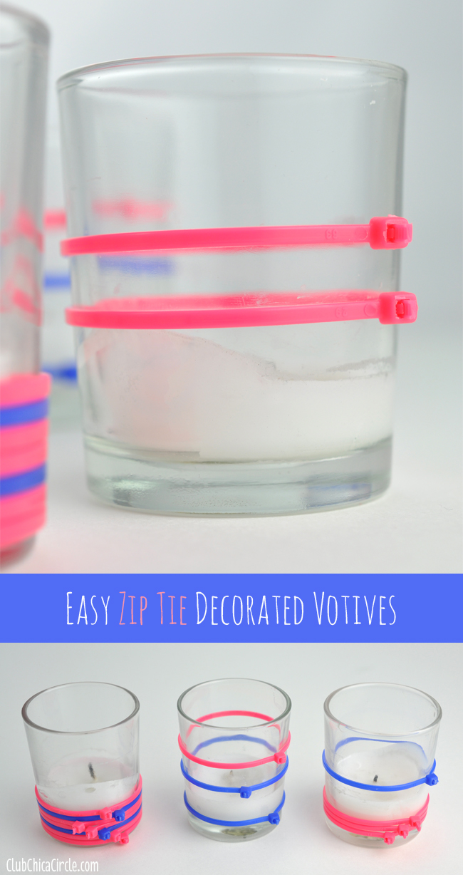 Easy zip tie decorated votives craft idea