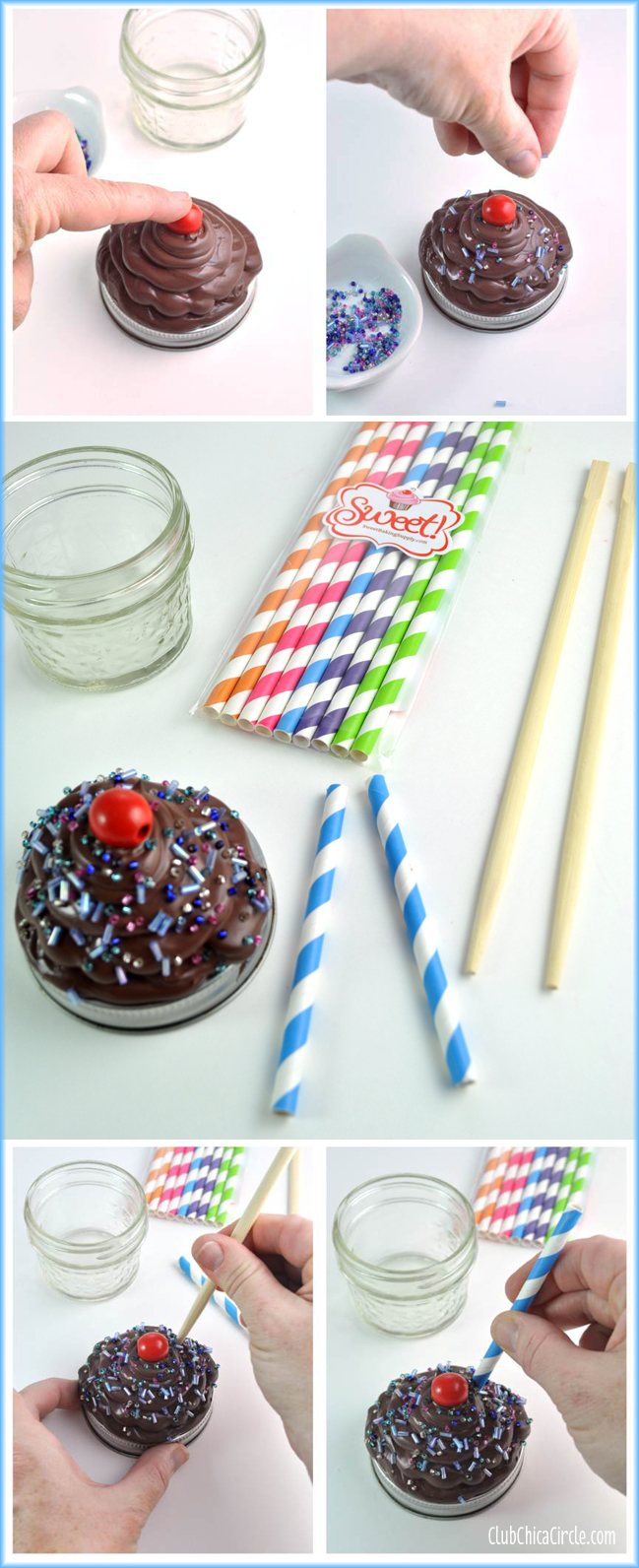 How to make a caulk cupcake mason jar gift