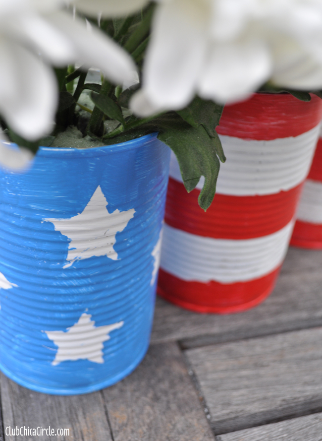 Painted and Stenciled Patriotic cans easy craft idea