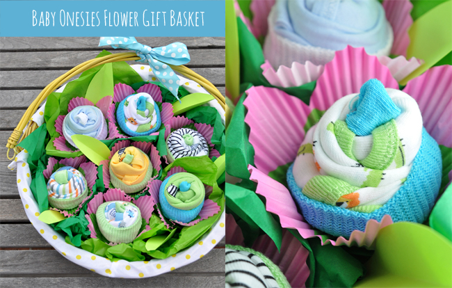 how to make cupcake onesie flowers for baby shower gift