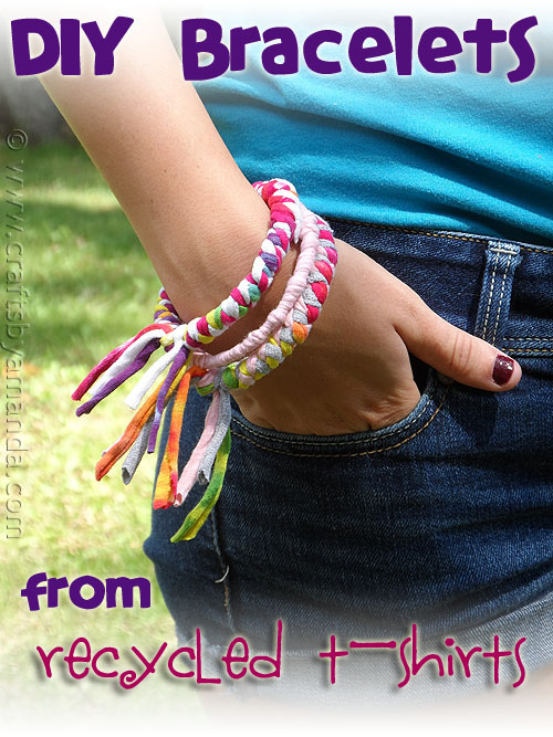 recycled-tshirt-bangles craft for kids