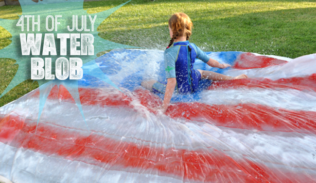 4th of July Homemade Water Blob and Slip and Slide for kids