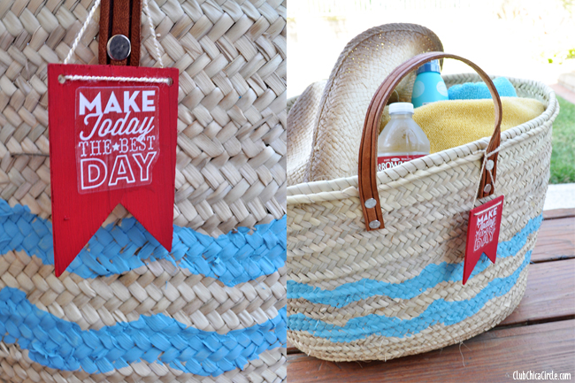 Chevron decorated beach bag easy craft idea