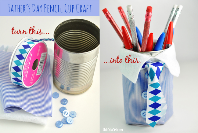 Father's Day Upcycled Can Pencil Cup Craft