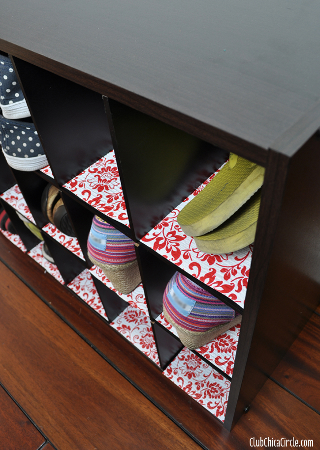 Shoe Shelf with Decorative #DuckBrandLiner