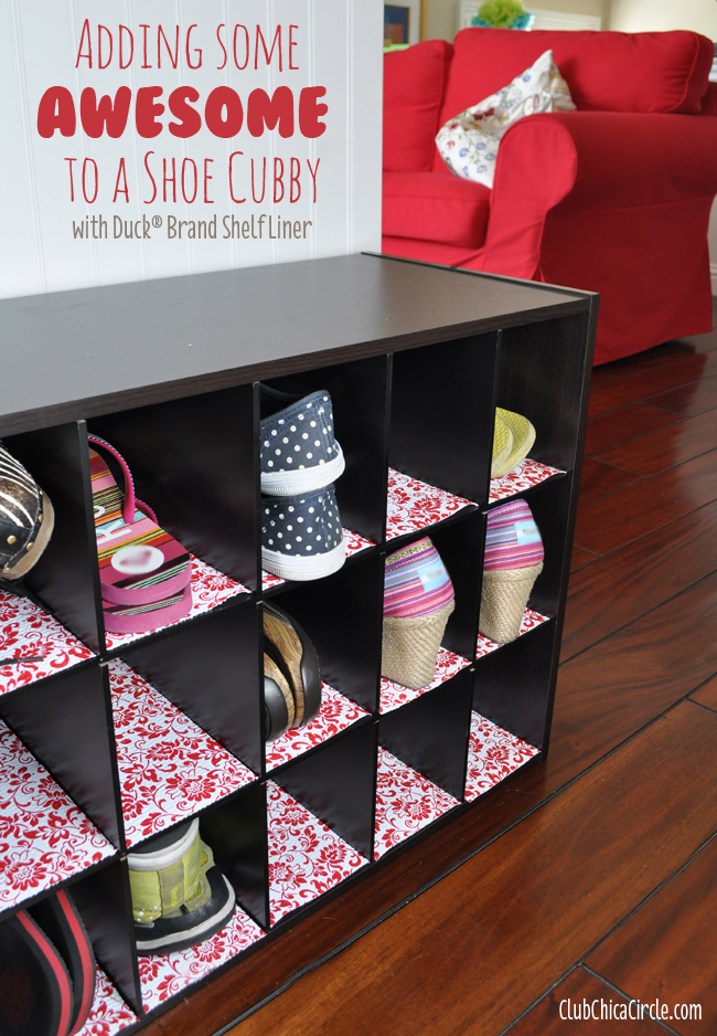Shoe cubby lined with decorative flair from #DuckShelfLiner