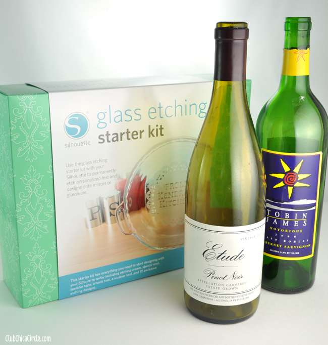 Upcycled Wine Bottle into Candles with Silhouette Glass Etching Starter Kit