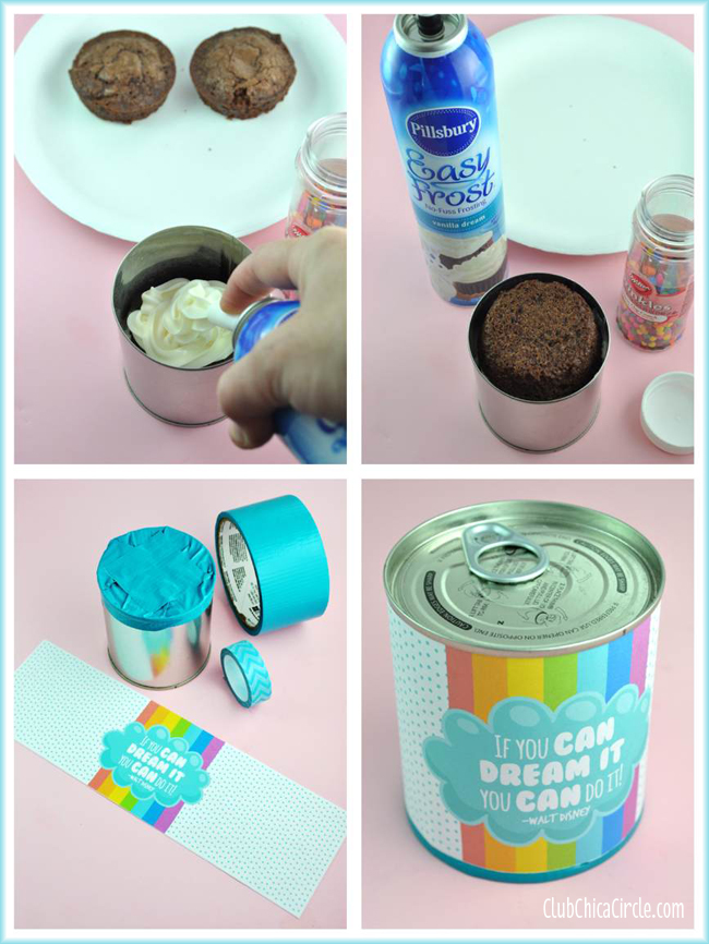 brownie cupcake in a can treat easy tutorial