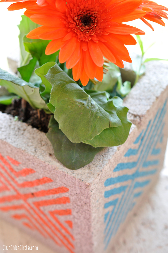 Concrete Block Planters Craft Idea