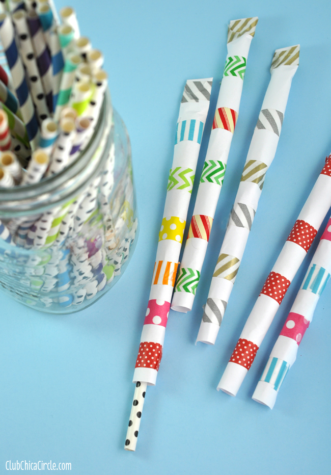 Easy Washi Tape Straw Shooters Boredom Busting Activity for Kids