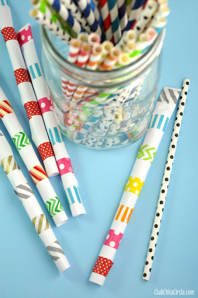 Easy Washi Tape Straw Shooters Craft Idea
