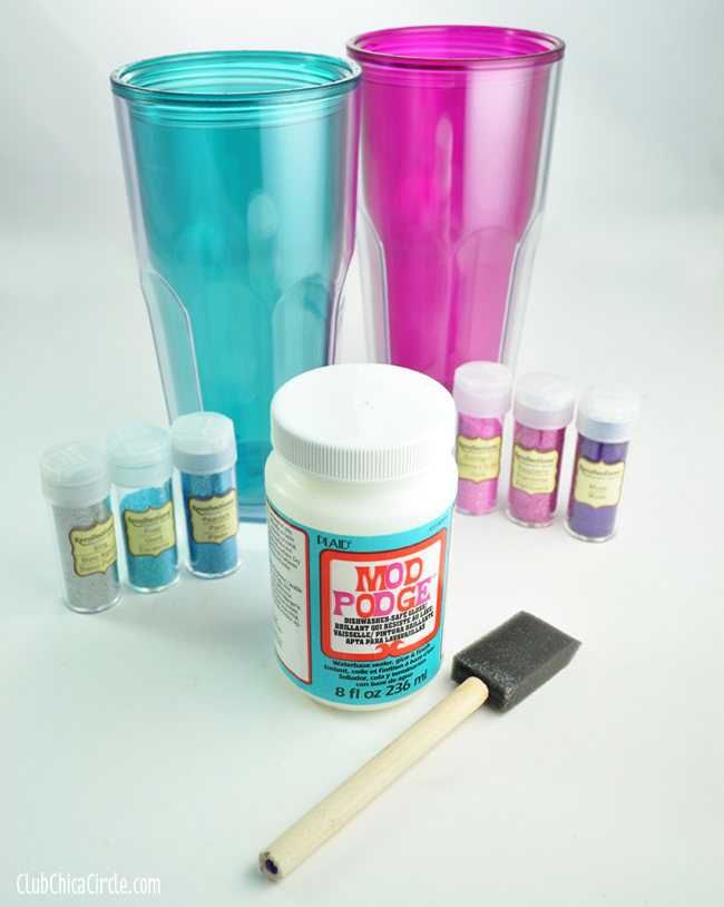 Glitter Mod Podge Tumblers Craft idea