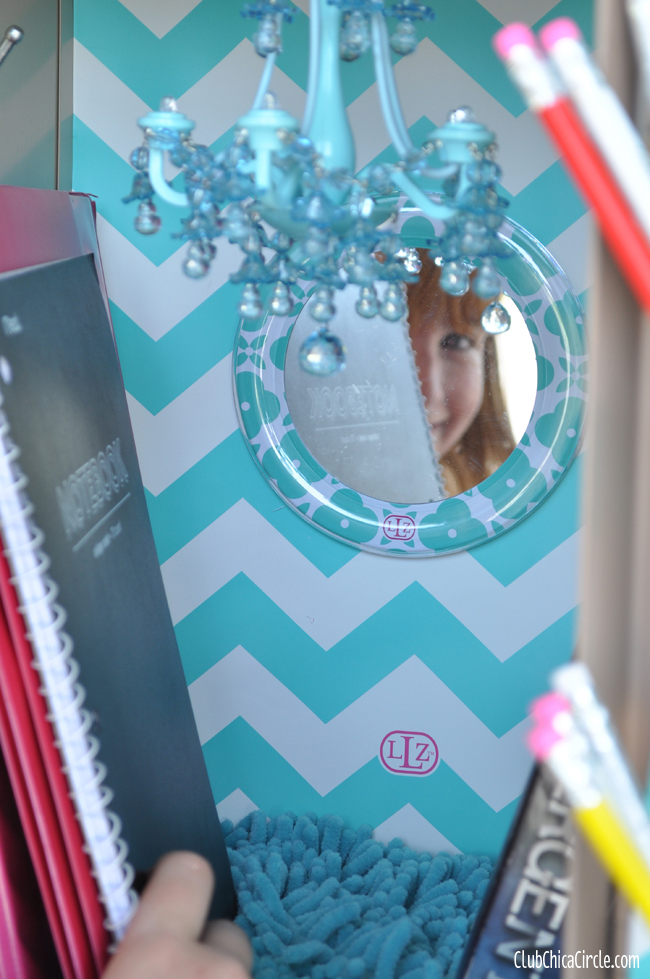 Locker Mirror and Chandelier and Wallpaper