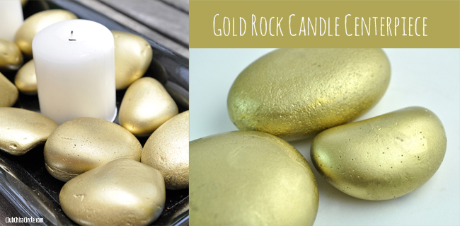 Painted Gold Rock Candle Centerpiece easy home decor craft idea
