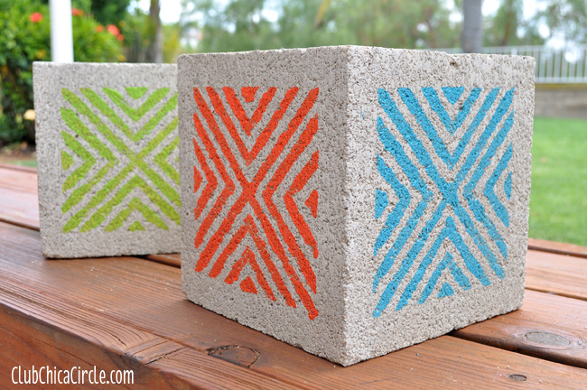 Patio Painted Concrete Block Planters Upcycle craft