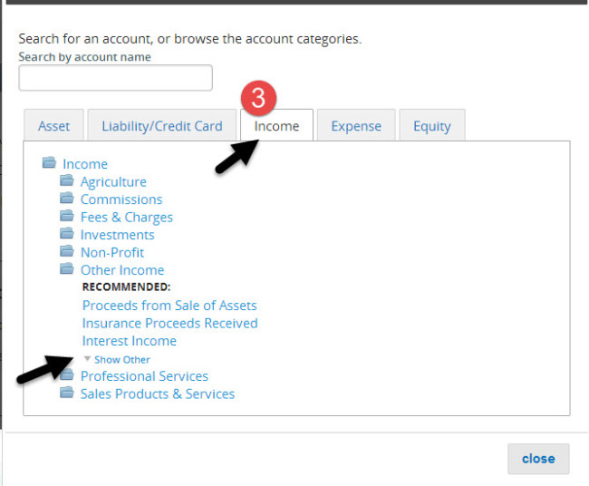 Step 3 - Select an Income Account to Customize