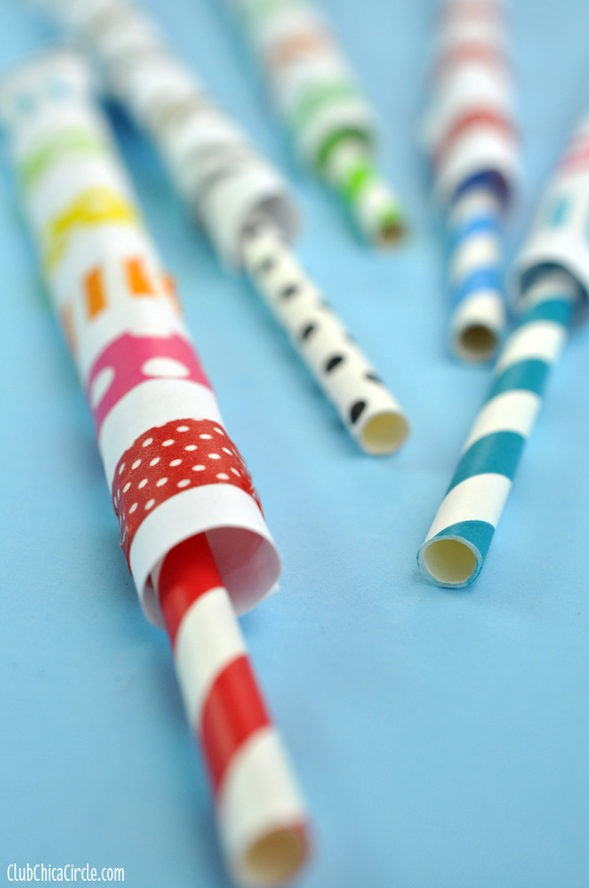Washi Tape Straw Shooter Close up