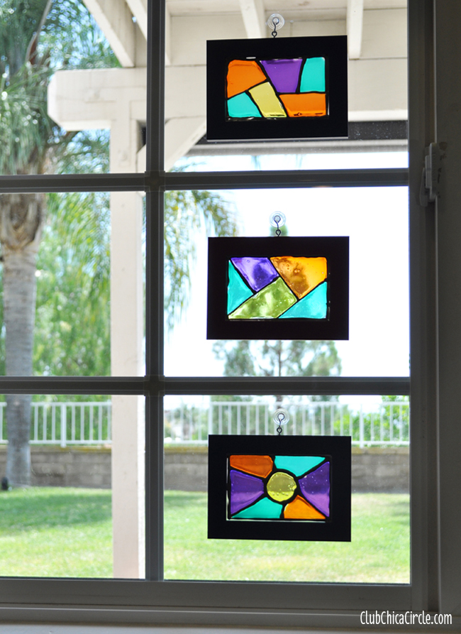 glass stained window frames craft idea