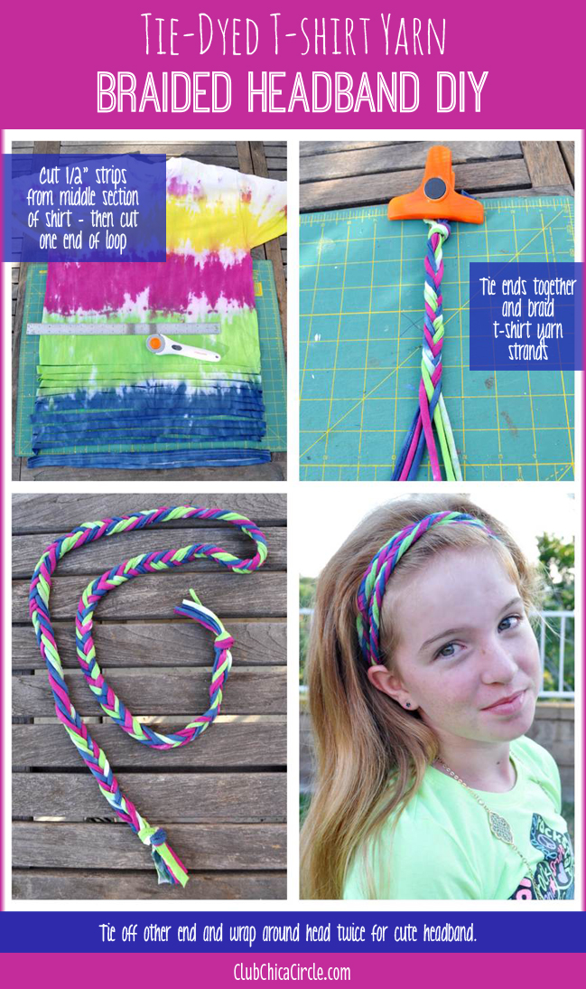 Braided Tie Dye Tshirt Yarn for easy headband craft
