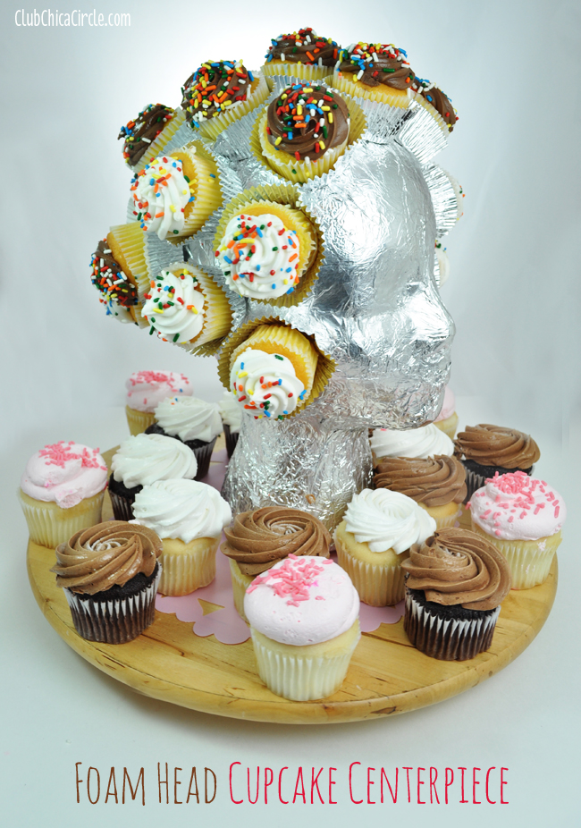 Foam Head Cupcake Centerpiece