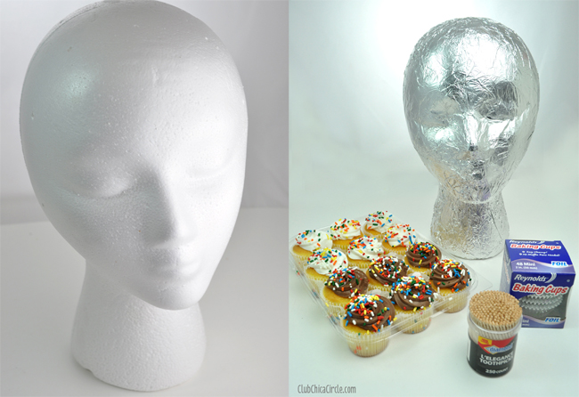 Foam head cupcake centerpiece supplies