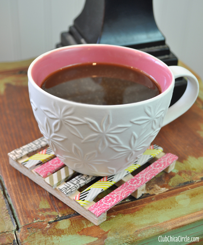 Washi Tape Mini Pallet Coaster Craft Idea