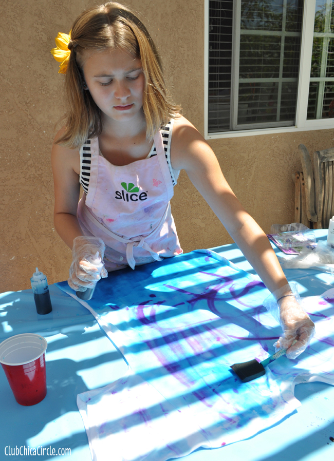 brush on tie-dye technique