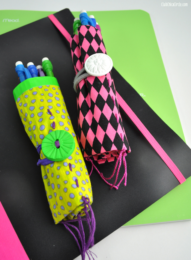 fabric and duct tape pencil roll craft for tweens