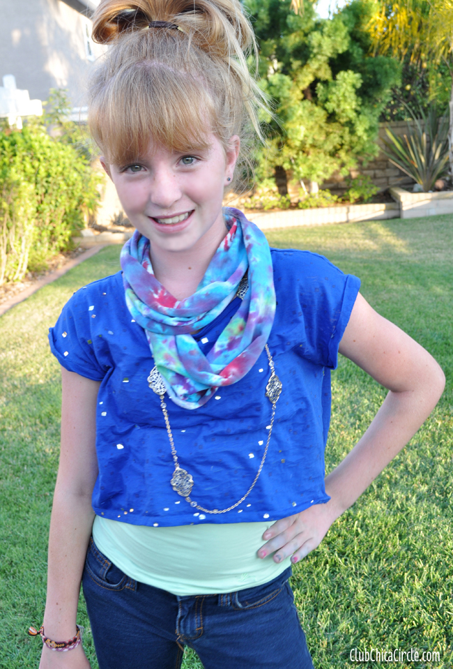 tie dye infinity scarf craft DIY for tweens