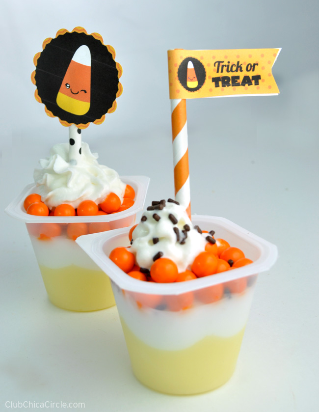 Candy Corn pudding dessert cups