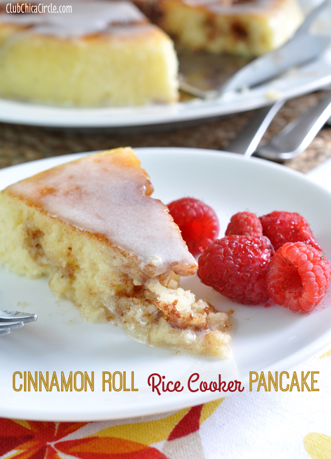 Cinnamon Roll Rice Cooker Pancake with glaze