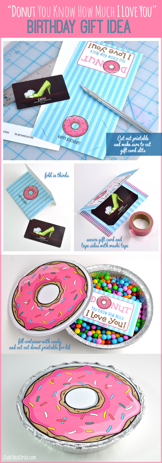 Donut Quote Printable for Gift Card Holder and Homemade Birthday Gift Idea