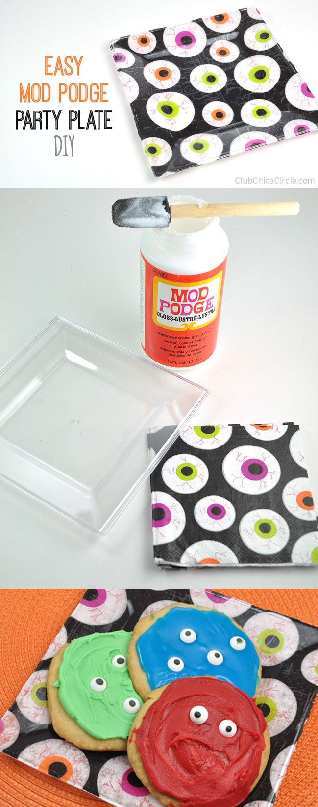 Easy Eyeball party plate craft idea with mod podge