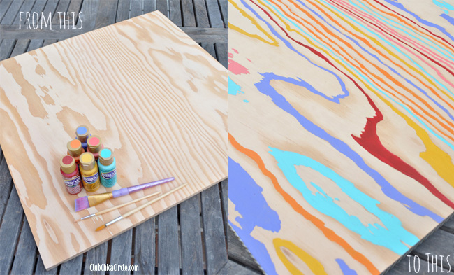 Colorful wood grain wall art diy for Easy diy arts and crafts