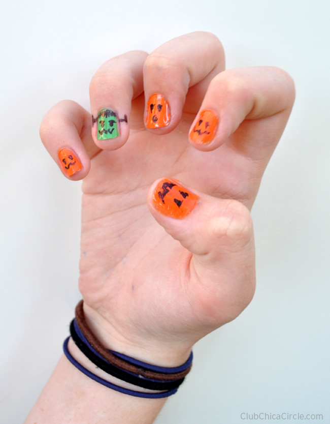 Fun Tween Halloween Manicure Idea