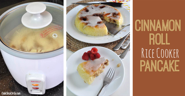 Glazed Cinnamon Roll rice cooker pancake