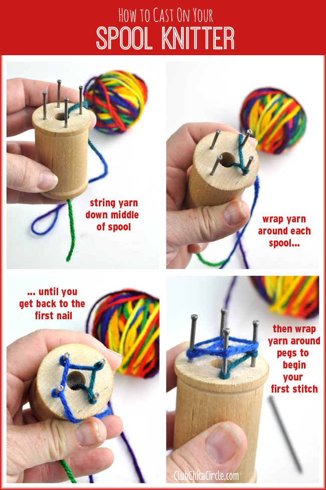 How to Cast On Homemade Spool Knitter