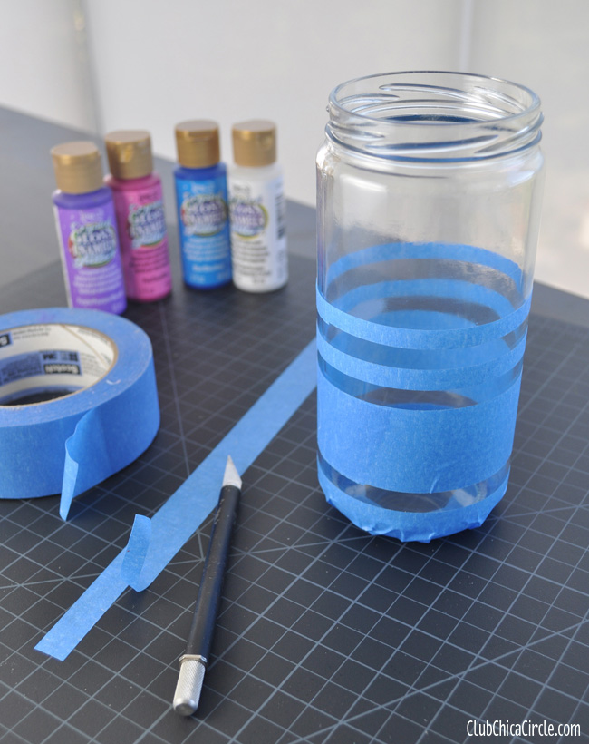 How to paint stripes on upcycled glass jar
