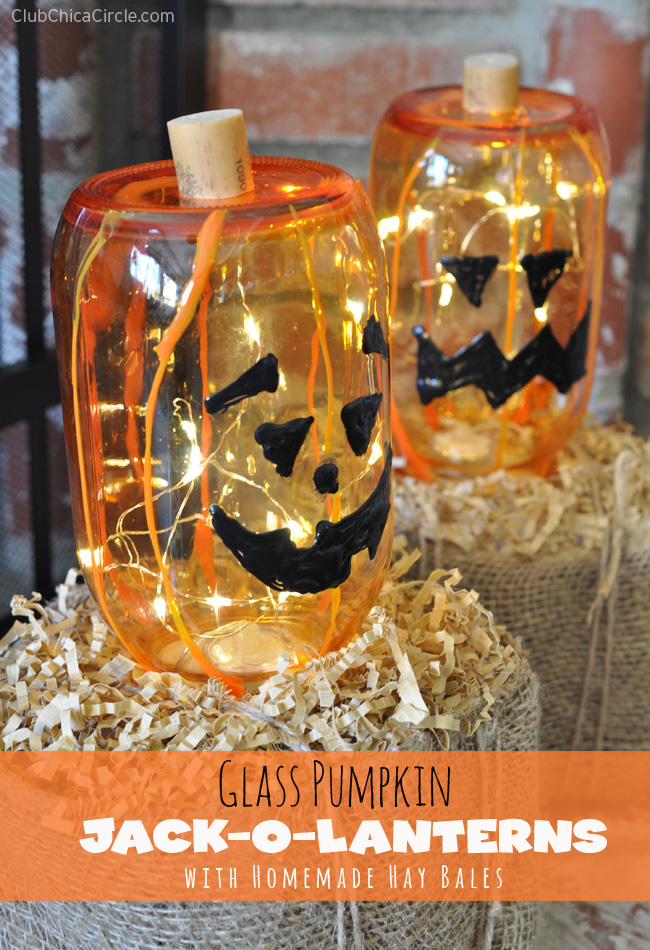 halloween craft idea glass pumpkin o lanterns on hay bales 2131