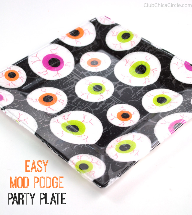 Mod Podge Eyeball party plate easy craft idea