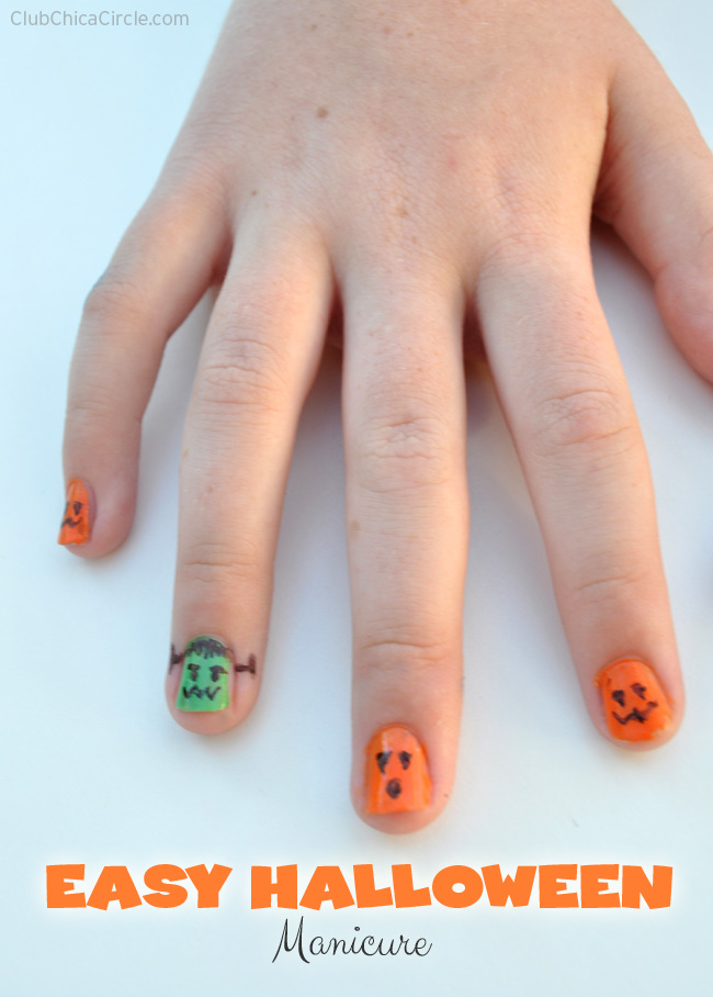 Quick and Easy Sharpie Halloween Manicure for tweens