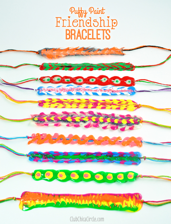 puffy paint friendship bracelets super easy craft idea for tweens